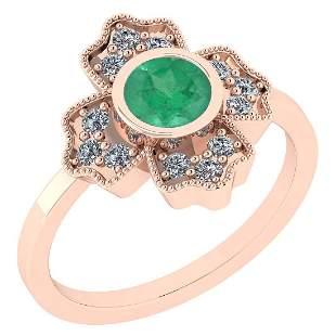 Certified 1.25 Ct Emerald and Diamond I1/I2 10K Rose Go