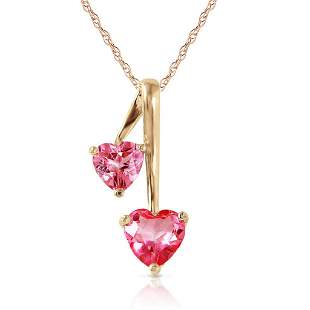 1.4 Carat 14K Solid Gold Hearts Necklace Natural Pink T