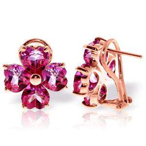 7.6 Carat 14K Solid Rose Gold French Clips Earrings Nat