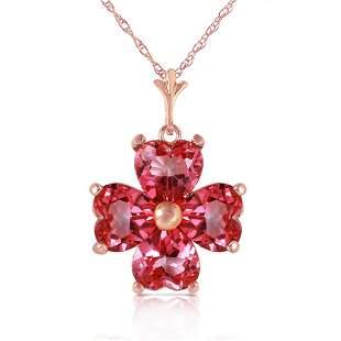 3.8 Carat 14K Solid Rose Gold Heart Cluster Pink Topaz