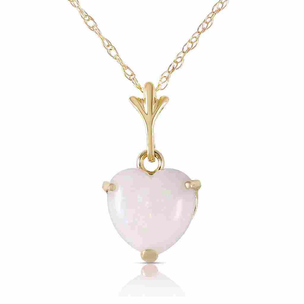0.65 Carat 14K Solid Gold Necklace Natural Heart Opal