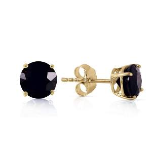 1 CTW 14K Solid Gold Stud Earrings 1.0 Carat Natural Bl