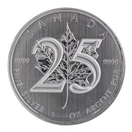 2013 Silver Maple Leaf 1 oz Uncirculated - 25th Anniver
