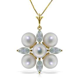 6.3 Carat 14K Solid Gold White Night Aquamarine pearl N