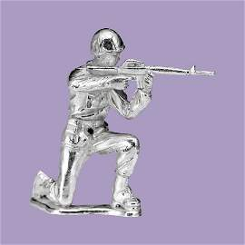 Silver Army Figurine - Rifleman Silver Soldier
