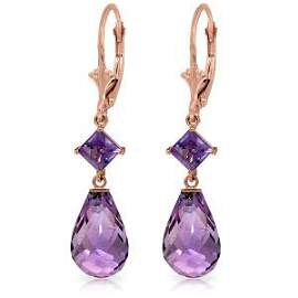 14K Solid Rose Gold Leverback Earrings with Amethysts