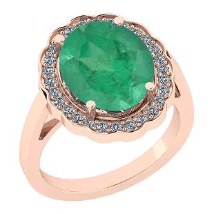Certified 2.30 Ctw Emerald And Diamond I1/I2 14K Gold E