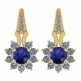 Certified 3.04 Ctw Blue Sapphire And Diamond VS/SI1 18K