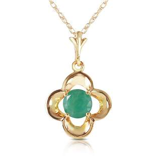 0.55 Carat 14K Solid Gold Everything Flows Emerald Neck