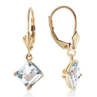3.2 Carat 14K Solid Gold Excellence Aquamarine Earrings