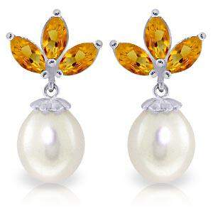 9.5 CTW 14K Solid White Gold Dangling Earrings pearl Ci