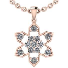 Certified 0.58 Ctw Diamond SI2/I1 14K Rose Gold Pendant