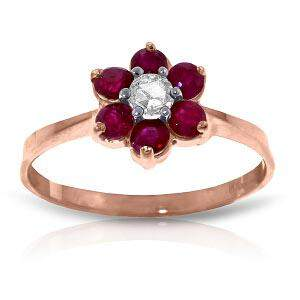 14K Solid Rose Gold Ring withNatural Diamond & Rubies