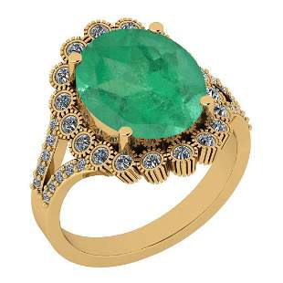 Certified 3.00 Ctw Emerald And Diamond I1/I2 14K Gold E
