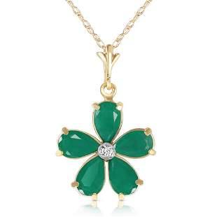 2.22 Carat 14K Solid Gold Necklace Natural Emerald Diam