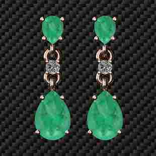 Certifed 4.00 Ctw Emerald And Diamond SI1/SI2 14K Gold