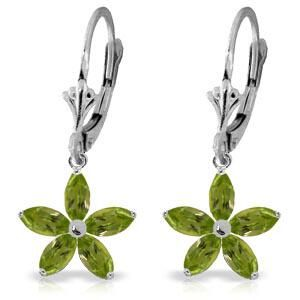 2.8 Carat 14K Solid White Gold Leverback Earrings Natur
