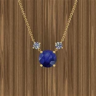Certified 4.00 Ctw Blue Sapphire And Diamond I1/I2 14K