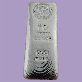 """Hand Poured 10 oz Silver Bar Kit Kat"""" .999 Fine Silver"""""""
