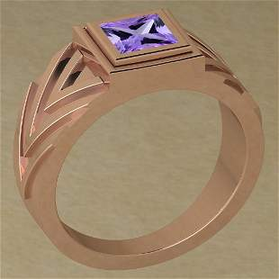 Certified 0.50 Ctw Amethyst 14K Rose Gold Solitaire Rin