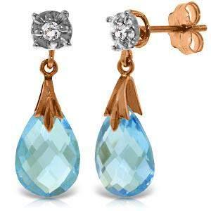 14K Solid Rose Gold Stud Earrings withDiamonds & Blue T