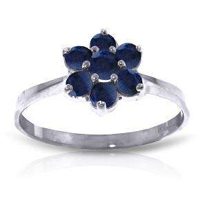 0.66 Carat 14K Solid White Gold Ring Natural Sapphire