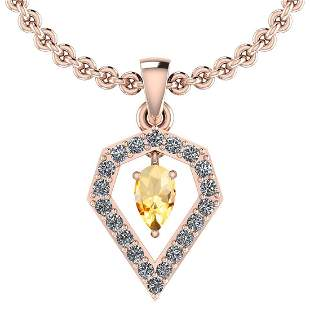 Certified 0.71 Ctw Citrine And Diamond SI1/SI2 14K Gold