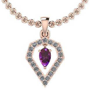 Certified 0.71 Ctw Amethyst And Diamond SI1/SI2 14K Gol