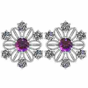 Certified 0.92 Ctw Amethyst And Diamond I1/I2 14K Gold