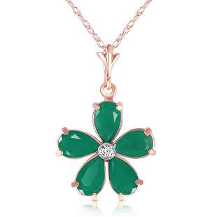 2.22 CTW 14K Solid Rose Gold Necklace Natural Emerald D