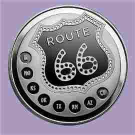 1 oz Silver Round - Get Your Kicks on Route 66