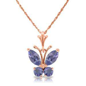 0.6 Carat 14K Solid Rose Gold Butterfly Necklace Tanzan