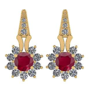 Certified 3.04 Ctw Ruby And Diamond SI1/SI2 14K Gold Ea