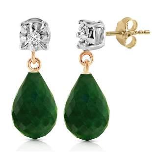 17.66 Carat 14K Solid Gold Stud Earrings Diamond Emeral