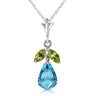 1.7 CTW 14K Solid White Gold Charm You Blind Blue Topaz