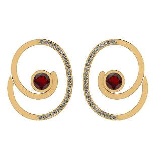Certified 1.38 Ctw Garnet And Diamond SI1/SI2 14K Gold