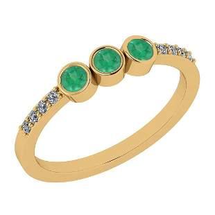 Certified 0.38 Ct Emerald and Diamond I1/I2 10K Yellow