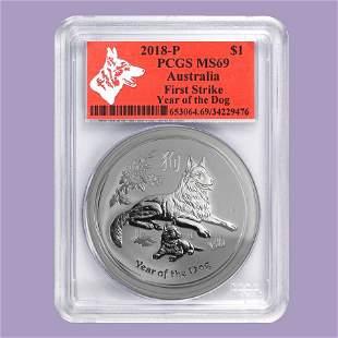 2018 Australia 1 oz Silver Lunar Dog MS-69 PCGS (FS, Re