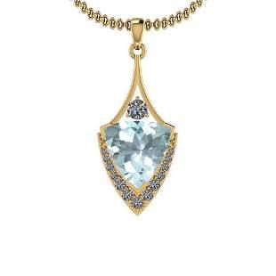 Certified 4.75 Ctw VS/SI1 Aquamrine And Diamond 14K Yel