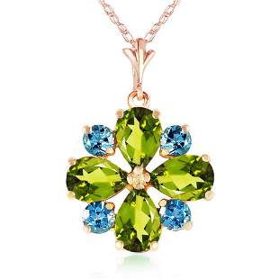 2.43 CTW 14K Solid Rose Gold Necklace Peridot Blue Topa