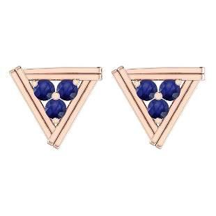 Certified 0.41 Ctw Blue Sapphire 18K Gold Stud Earrings