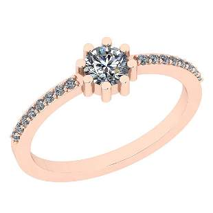 Certfied 0.35 Ctw Diamond SI2/I1 14K Rose Gold Band Rin