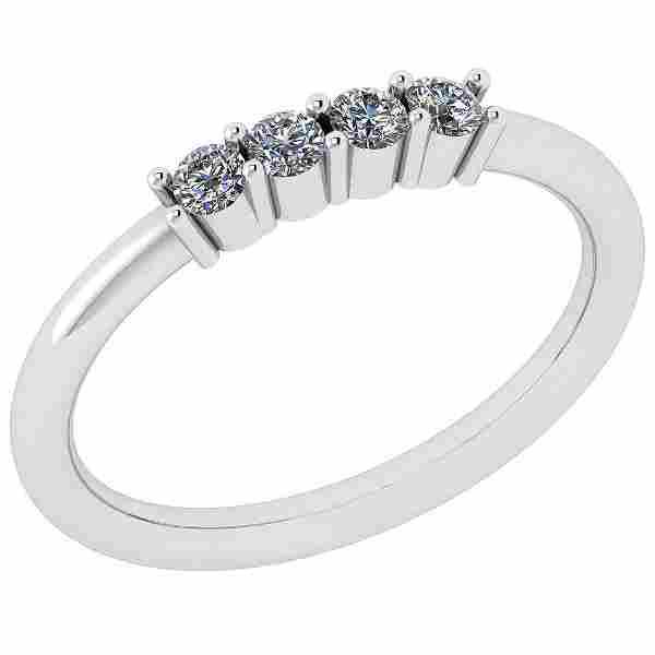 Certified 0.14 Ctw Diamond VS/SI1 18K White Gold Ring