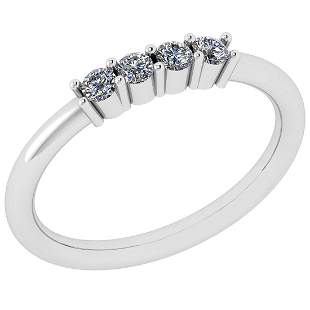 Certified 0.14 Ctw Diamond VS/SI1 18K White Gold Ring