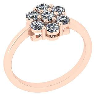 Certified 0.48 Ctw Diamond SI2/I1 14K Rose Gold Ring