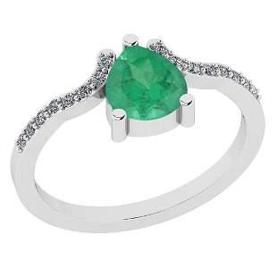 Certified 0.84 Ct Emerald and Diamond I1/I2 10K White G