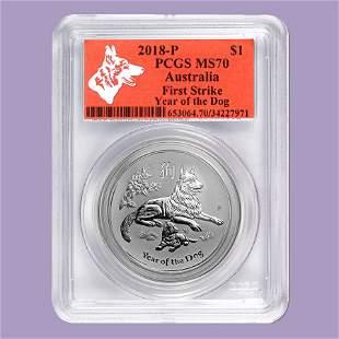 2018 Australia 1 oz Silver Lunar Dog MS-70 PCGS (FS, Re