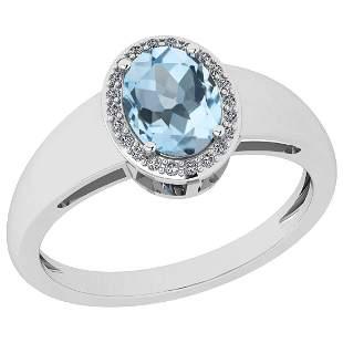 Certified 0.87 Ctw Blue Topaz And Diamond I2/I3 10K Whi