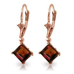 3.2 Carat 14K Solid Rose Gold Garnet Simplicity Earring