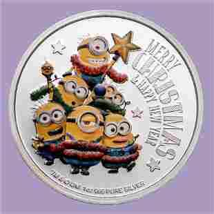 2018 Niue 1 oz Silver $2 Despicable Me: Christmas Minio